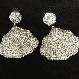 Rhinestone earrings 2 1/2 in x 2